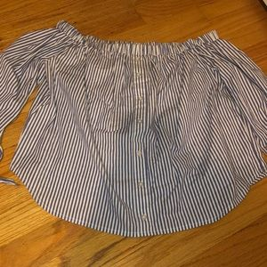 Off the shoulder navy white stripe top NWOT